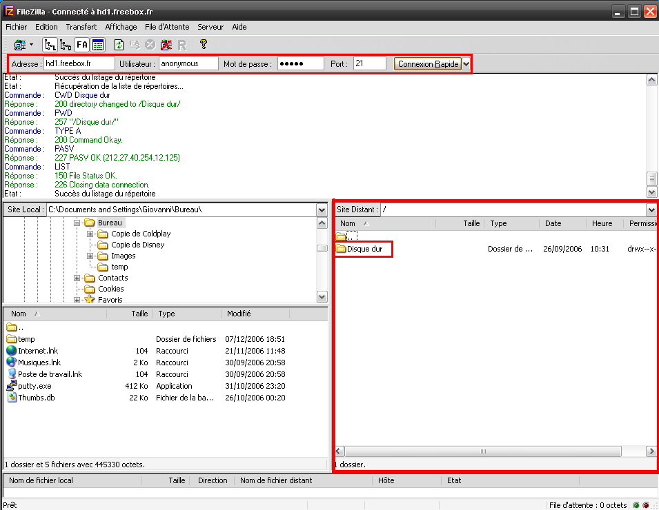 filezilla freebox